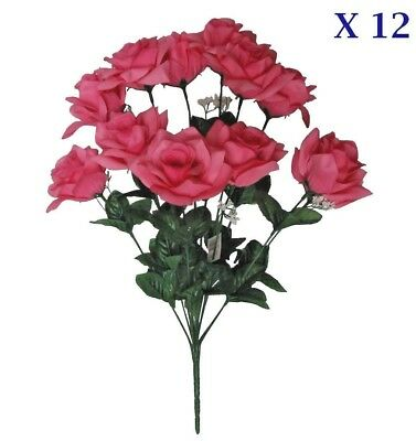 """(Pack of 12 Bushes) New Pink Rose 20"""" Tall Bouquet 144 Roses Wedding Home Decors"""
