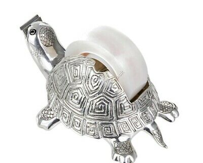 LOYFAR PEWTER Tortoise Tape Dispenser Cutter Office Accessory Decor-RRP$110-EUC!