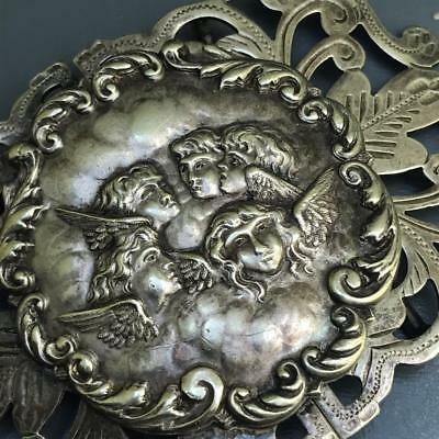Antique Victorian EPNS silver plated Angels Face belt buckle