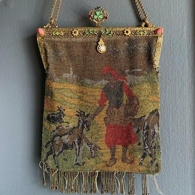RARE Antique Victorian French Steel-Beaded Jeweled Brass Frame Purse -ASIS