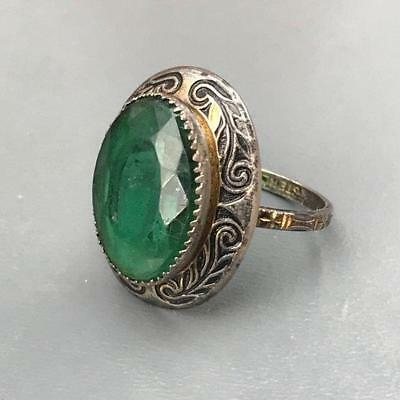 Vintage Art Deco Sterling Silver Emerald Paste Stone Enamel Ring (5 1/2 - 6)