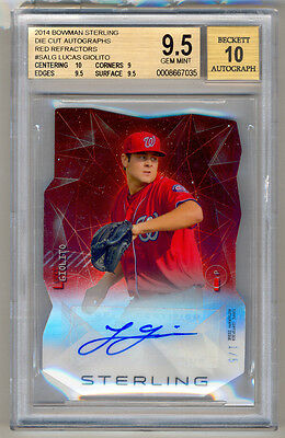 2014 Bowman Sterling Die Cut LUCAS GIOLITO Red Refractor Auto 1/5 BGS 9.5/10 SSP