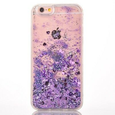 """Stylish Purple Heart Dynamic Glitter Transparent Case Cover For iPhone 7 4.7 """""""