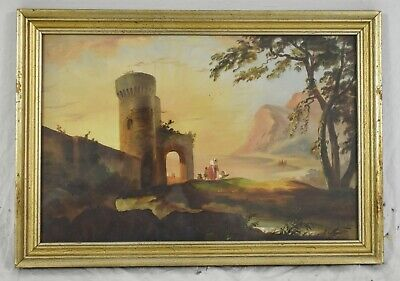Late 19th Century OIL PAINTING on Paper Landscape Arched Bridge & Castle Framed