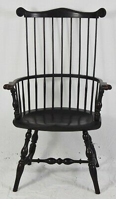 Hand Crafted Black Fan Back Windsor Arm Chair Ohio Artisan Williamsburg Style