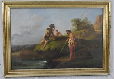 Late 19th Century OIL PAINTING on Paper Landscape w. Fisherman and River Framed