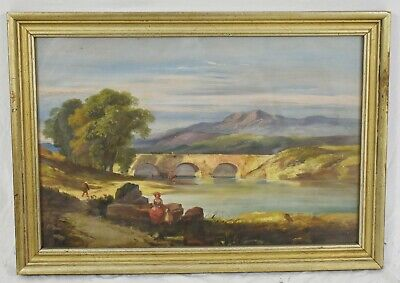 Late 19th Century OIL PAINTING on Paper Landscape Arched Bridge and River Framed