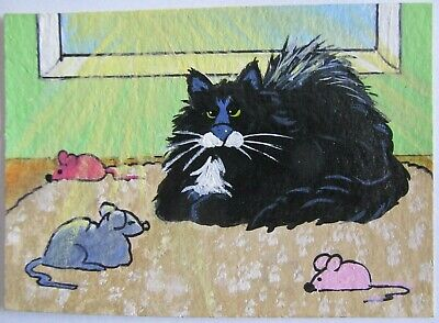 ACEO Original Acrylic Painting Cat Tuxedo Mouse in Sunbeam C Pryjmak cathy2276