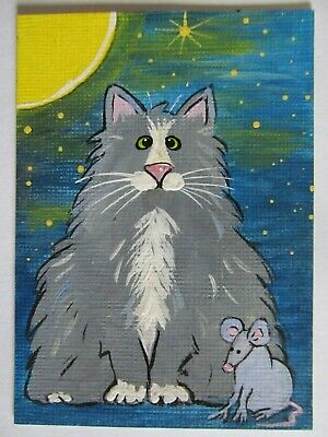 ACEO Original Acrylic Painting Cat Gray Kitty Mouse Moon Stars Pryjmak cathy2276