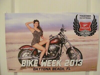2013 Daytona Beach Bike Week Miller High Life Harley- Davidson Poster New Rare!!