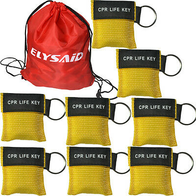 100pcs/pack First Aid CPR Masks CPR Face Shield AED Training Rescue Yellow