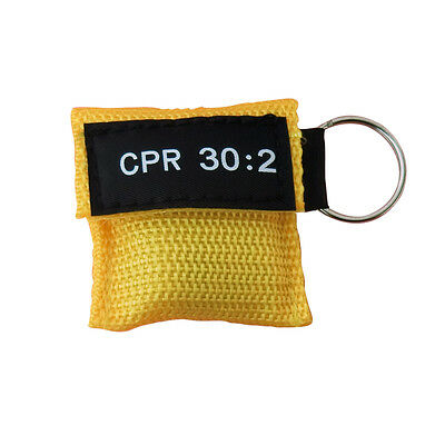 4 Pcs Cpr Mask With Keychain Cpr Face Shield Aed Yellow Pouch Cpr 30:2 Aed Train