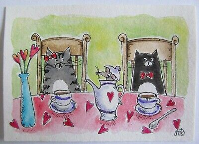 ACEO Original Pen Watercolor Cat Tea Party Hearts Mouse Whimsical Art M King