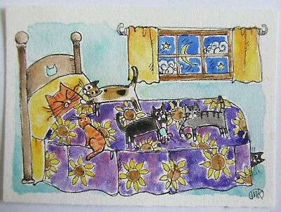 ACEO Original Pen Watercolor Painting Cat Kittens Bed Sunflower Folk Art M King