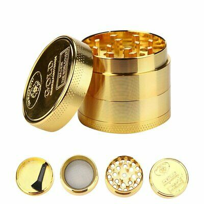 Metal Zinc Alloy Tobacco Herb Grinder 4-Layers Hand Muller Smoke Crusher Gold AU