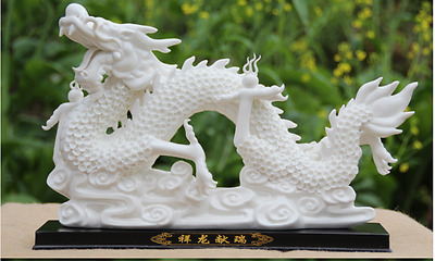 """15"""" Chinese Dehua White Porcelain Carving Dragon Dragons Loong Play Ball Statue"""