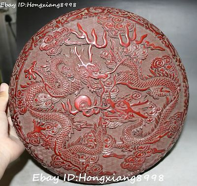 """12""""Chinese Wood Lacquerware Two Dragon Loong Beast Ball jewelry Box Casket Boxes"""