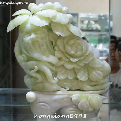 "12"" Collect China Natural Green Jade Shouxing Longevity God Peony Flower Statue"