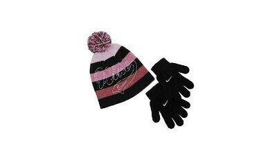 a9e3f8cea16 Nike Girl s Beanie and Gloves 2 Piece Set Winter Hat Black Pink NWT Size 4