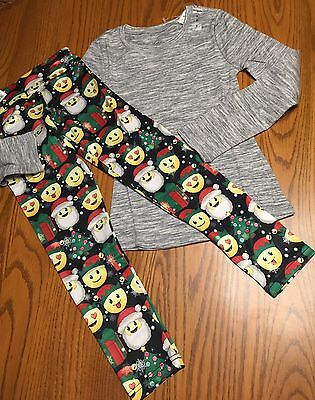 Justice NWT Girls 7 Holiday Christmas Leggings Top Gray New Lot Set