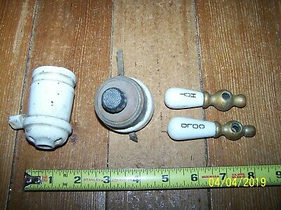 Antique Porcelain Perkins Rotary Light Switch & Light Receptacle W/Hot/Cold Knob