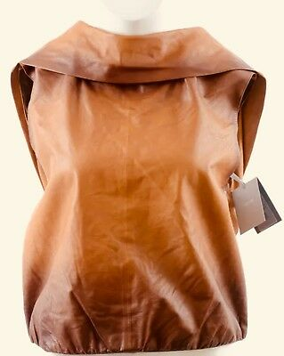 fdb2aecae987 Tom Ford 8 M 42 Brown Ombre Leather Chain Link Pleated Vest Top NEW $3450