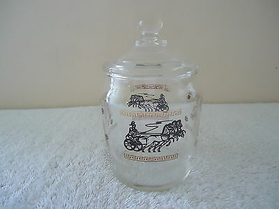 "Vintage Roman Chariot / Horse Themed Glass Candy / Nut Jar With Lid "" BEAUTIFUL"