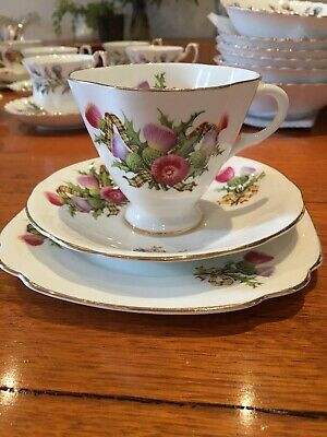Windsor Bone China Tea Cup Saucer Cake Plate Scotch Thistle Scottish