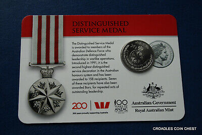 2017 20 Cent Bu Uncirculated Distinguished Service Medal  Legends Of Anzac Medal
