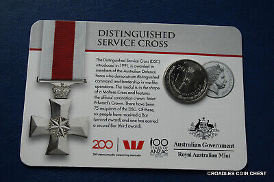 2017 20 Cent Bu Uncirculated Distinguished Service Cross Legends Of Anzac Medal