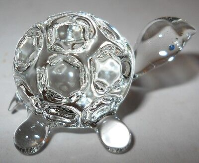 """TURTLE, TINY CRYSTAL FIGURINE, 1 3/4"""" LAND TURTLE W/CUTE, ROUND SHELL, 1980's!"""