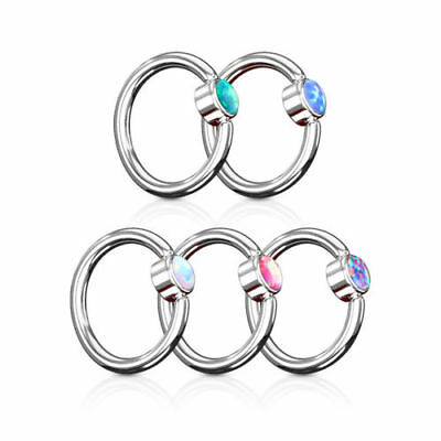 1 PC Captive Bead Ring with Opal Set Round Flat Cylinder Surgical Steel