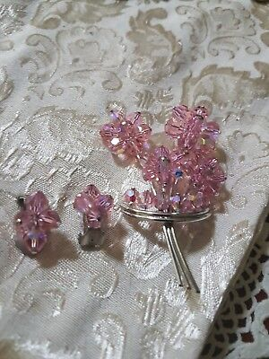 A White Metal Brooch With Matching Earrings  Pink  Crystal