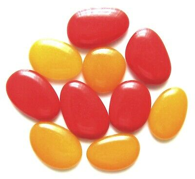 10 x Large Opaque Honey Yellow & Cherry Red Mosaic Glass Craft Feature Stones