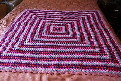 Multie Coloured With Lots Of Pinks Crotched Rug.