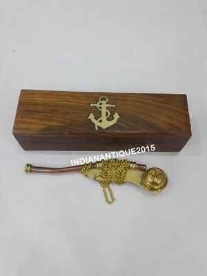 Nautical 5'' WHISTLE Brass With Wooden BOX