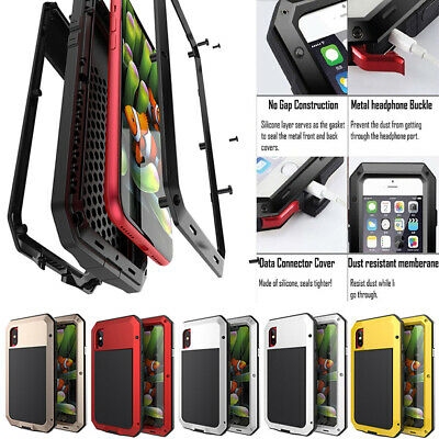 Shock Proof Waterproof Metal Gorilla Glass Case Cover For iPhone X 8 7 6 6 Plus