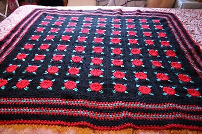 Black, Red & Green Coloured  Roses Crotched Rug.