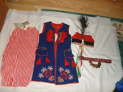 Vintage 80's Cepelia Polish Folk Costume Krakow Boys Suit Vest Pants Belt Hat