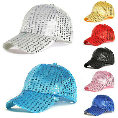 Fashion Women Ponytail Baseball Cap Sequins Shiny Messy Bun Snapback Hat Sun Cap