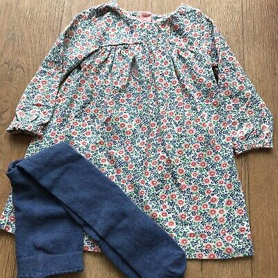 Baby Boden Floral Dress 6-12 Months Great Condition + New M&S Tights