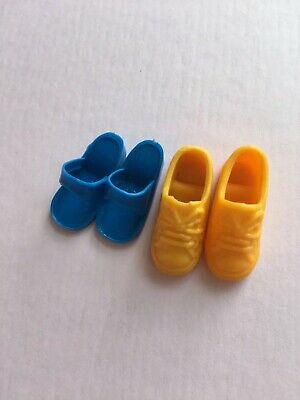 Vintage Sindy Doll Navy Blue Shoes Slip On Mules Sandals & Yellow Trainers Pumps