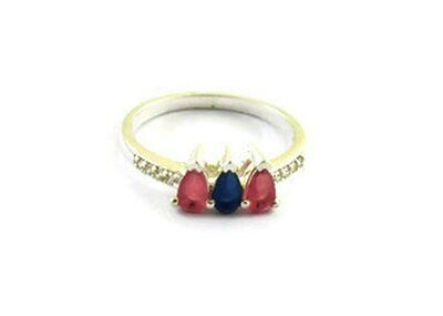 Ruby Faceted, Blue Sapphire Faceted Gemstone 925 Sterling Silver Ring US-7