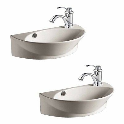2 Wall Mount Porcelain Sink Single Hole Faucet NOT INCLUDED   Renovator's Supply