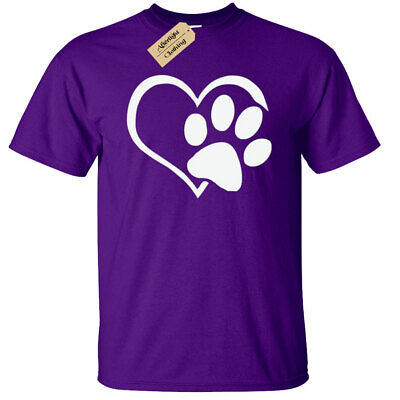 KIDS BOYS GIRLS Paw Print Heart T-Shirt Dog Cat Animal Lovers cute gift