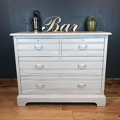 Vintage Antique Chest Of Drawers Old Pine Sideboard Cabinet Painted Boho Beige