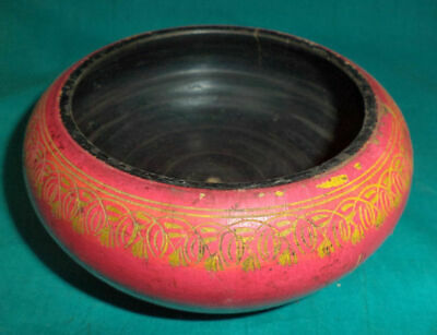 Antique Wooden Hand Crafted Pink Lacquer Paint Food-Storage Jain Saint's Pot
