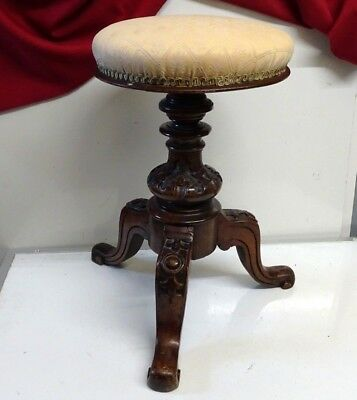 Antique Victorian Carved Mahogany Swivel Piano Stool.