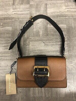 d5b6acac0021 BURBERRY SMALL BUCKLE Bag in House Check and Leather - Black ...