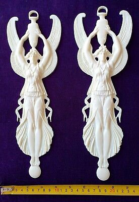 Pair French Antique Empire Style White Resin Wall Door Moulding Decoration